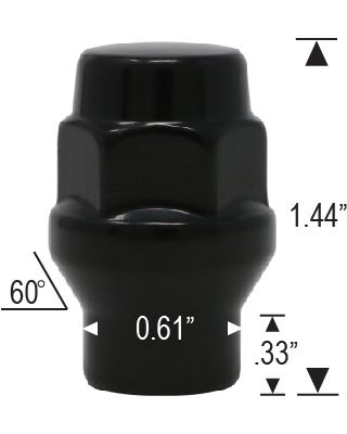 "CLOSED ET BULGE - 3/4"" HEX - BLACK"