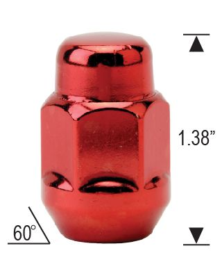"Closed Bulge Acorn - 3/4"" Hex - 1.38"" Tall - RED"